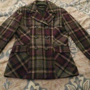 Women's Wool Plaid Pea Coat